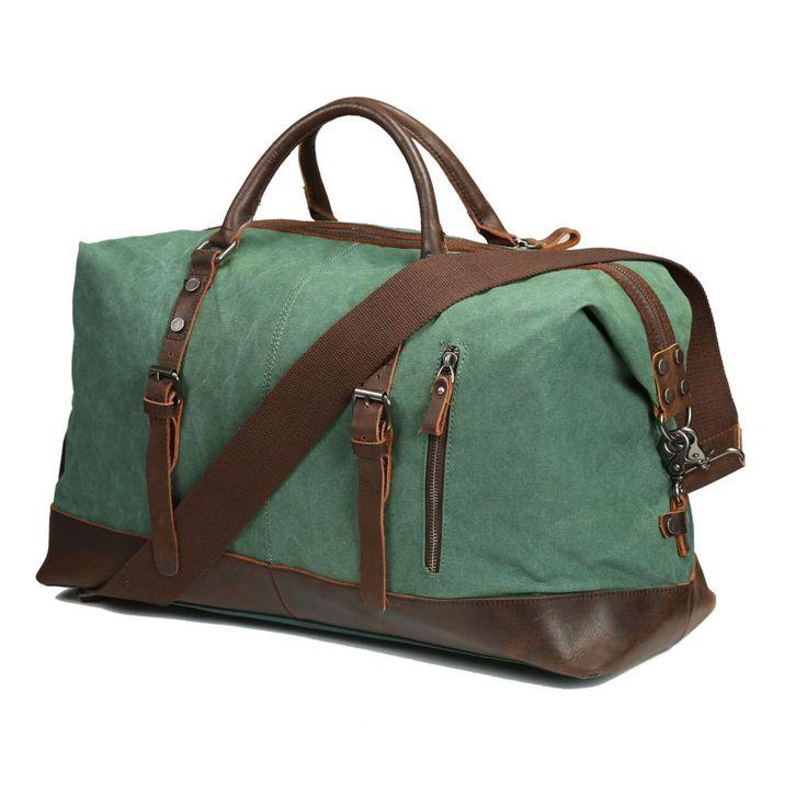 ECOSUSI Vintage Canvas Sport Tote Gym Bag Overnight Shoulder Bag Weekend Travel Duffel Bag