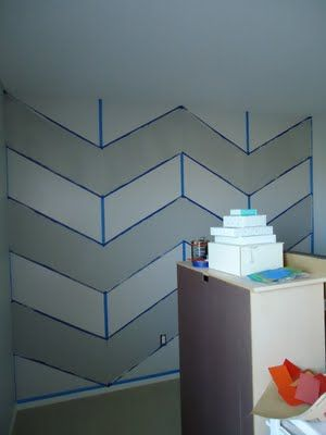 Simple tutorial for painting a chevron wall - pretty sure I'd slice the in between lines to make completely solid stripes instead of leaving it like a stencil