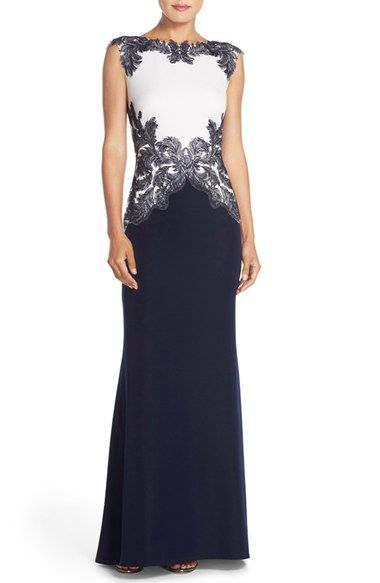 Free shipping and returns on Tadashi Shoji Embroidered Crepe Gown at Nordstrom.com. Feathery embroidery frames the waist-defining bodice of this memorable evening gown tailored from crisp crepe. A sweeping train adds to the regal look of it all.
