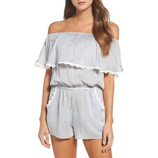 a7a2e9ff4e9 Women's Becca Nantucket Off The Shoulder Cover-Up Romper ($88) ❤ liked on  Polyvore featuring jumpsuits, rompers, striped romper, ruffled rompers,  ruffle ...