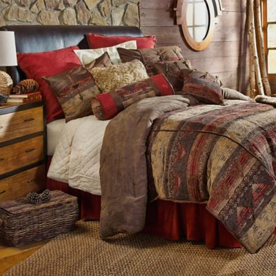 Hiend Accents Sierra Queen Comforter Set Brown/red