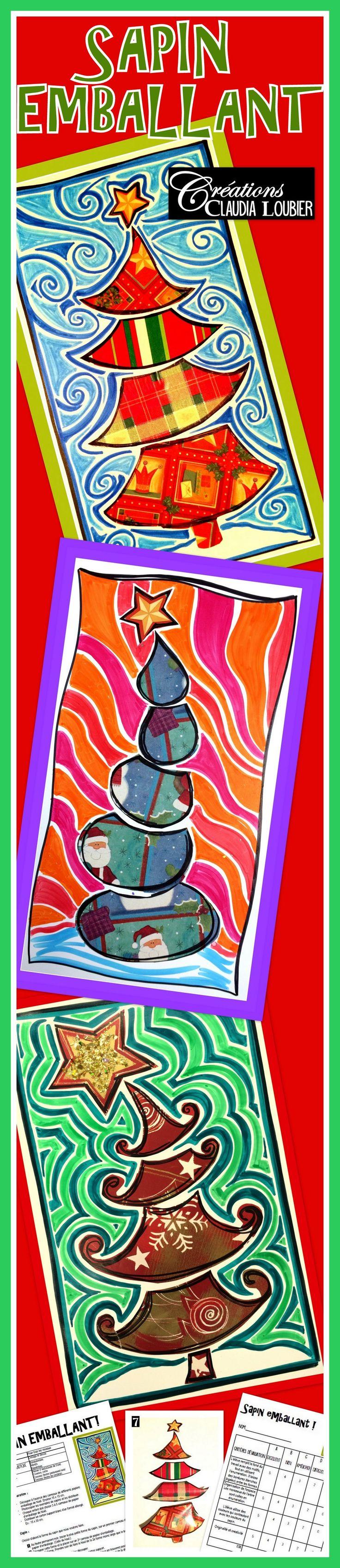Voici une façon originale de faire une oeuvre de Noël avec vos élèves. Ce projet est idéal pour réaliser une carte. Vous aurez besoin de matériel simple comme du feutre permanent, du feutre de couleur ordinaire et du papier emballage de Noël. Comme dans tous mes projets, la démarche, les photos explicatives et la grille d'évaluation sont comprises dans le document. Pour favoriser la diversité dans les réalisations, 6 exemples de sapin sont en annexe. Arts plastiques.