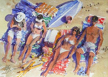 'Sunbathers', watercolour on paper,  image size 35 cm x 25cm,  $650.   ©The estate of Peter Chaplin.    All rights reserved.