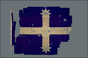The original Eureka flag. Representing the Crux Australis constellation, or the star constellation of the Southern Cross - The flag has been lent to the Museum of Australian Democracy at Eureka by the Art Gallery of Ballarat. It is listed as an object of state heritage significance on the Victorian Heritage Register and was designated as a Victorian Icon by the National Trust in 2006. Wikipedia, the free encyclopedia