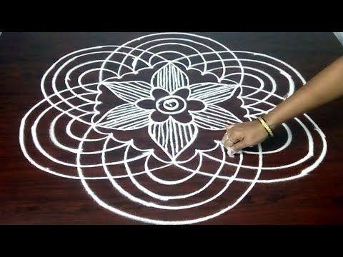 New Rangoli With 9 x 5 Dots || Amazing Dots Kolam Design || Fashion World - YouTube