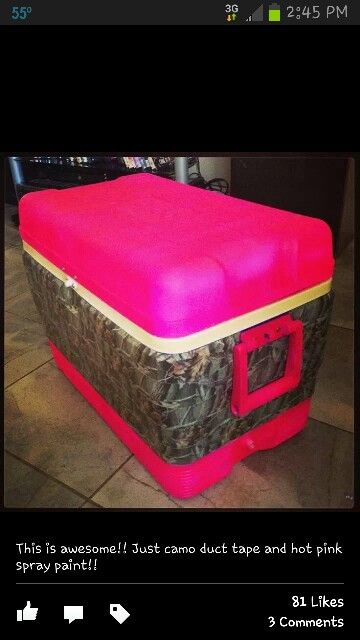 All you need is,Camouflage duct tape and hot pink spray paint