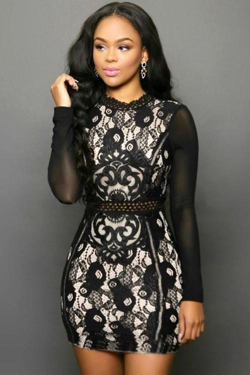 2ba9bc2a4a Black Geisha Printed Bodycon Dress Vestidos De Encaje
