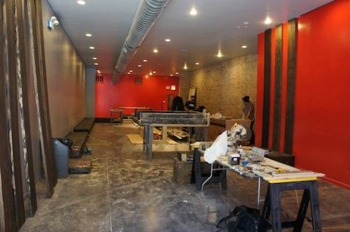 Racked Chicago (PR): Inside the Chrome Industries Store Buildout: Industrial Finishes, a Really Big Map, Moving Dry Cleaner's Rack and Stationary Bikes