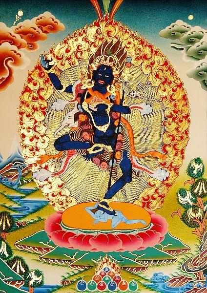 kelledia:    Bhagavani (Krodha Kali, the Fierce Black One),   a wrathful form of Vajravarahi.