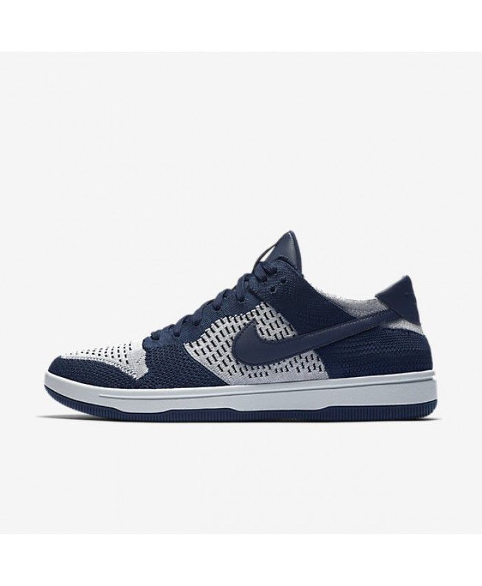 Nike Dunk Low Flyknit College Navy Pure Platinum Black Wolf Grey 917746-400