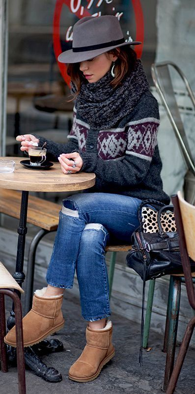 Casual fall fashion | Patterned cardigan, denim, scarf, hat and Ugg booties