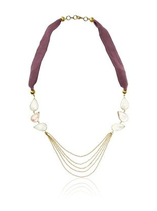 65% OFF Saachi Multi Stone Necklace with Chains and Silk