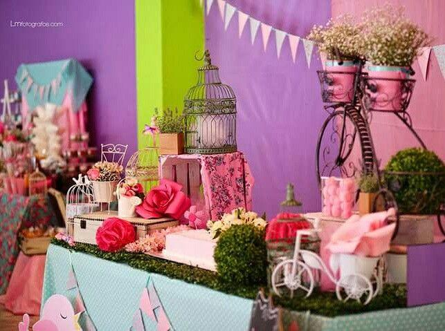Mesa pajaritas rosa pastel invitaciones xalapa