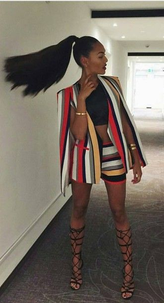 shorts two piece pants set blazer short set stripes red yellow white blazer women fashion short set