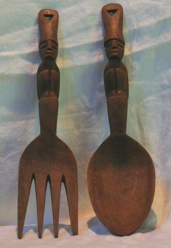 Vintage Wooden Tiki Salad Servers Mid Century Modern Fork Spoon | eBay
