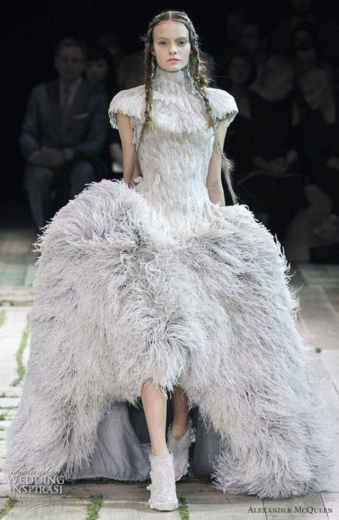 Alexander McQueen feather dress.