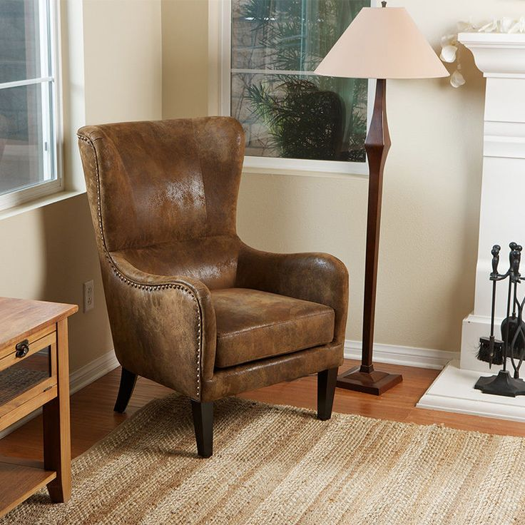 Classy Wingback Design Brown Aged Microfiber Armchair W