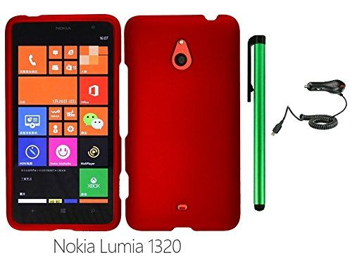 """Buy Nokia Lumia 1320 (6"""" Windows Phone 8 device; US Carrier : Cricket) Phone Case - Premium Design Protector Hard Snap-On Cover Case + Car Charger + 1 of New Metal Stylus Touch Screen Pen (RED) NEW for 13.45 USD 