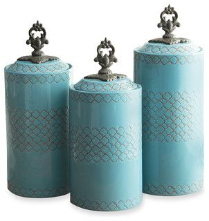 Canisters, Set of 3, Blue - Mediterranean - Food Containers And Storage - by Jay Import