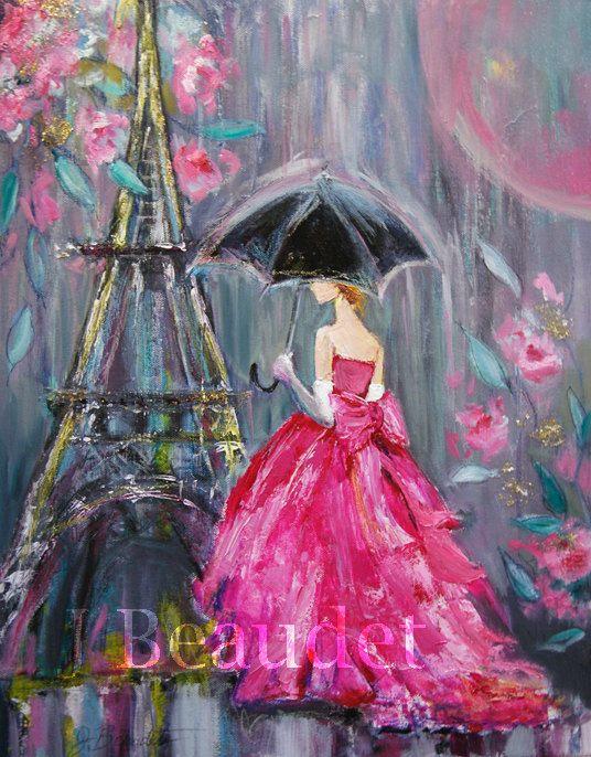 Impresión Fine Art de mixta pintura contemporánea Paris mujer con paraguas en la lluvia rosa Vestido