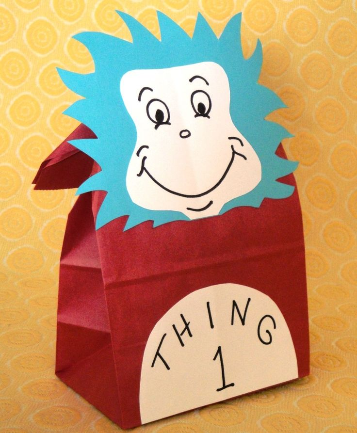 Cat in the Hat Birthday Party Treat Sacks Dr Seuss Thing 1 Thing 2 Theme Goody Bags