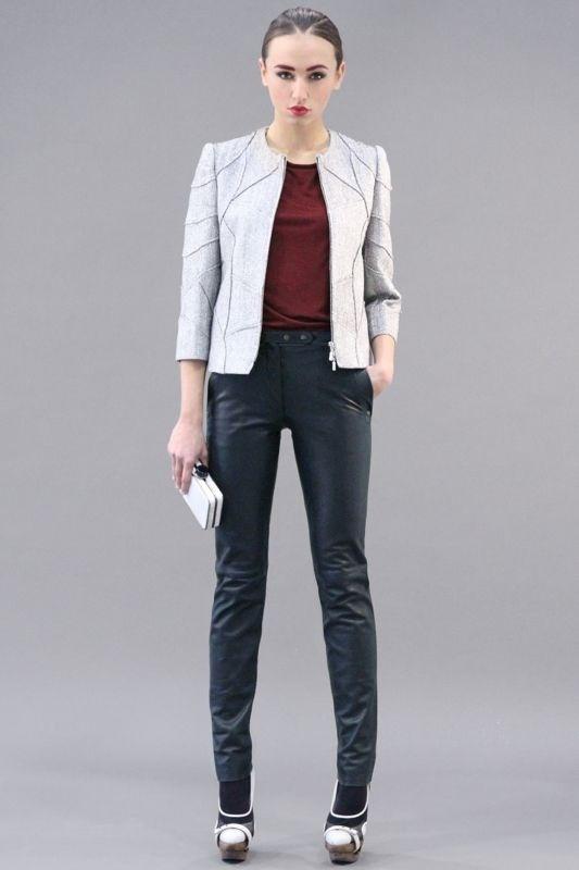 MARIO DICE FW13 white lurex jacket / Bordeaux leather- jersey t shirt / blue leather pants