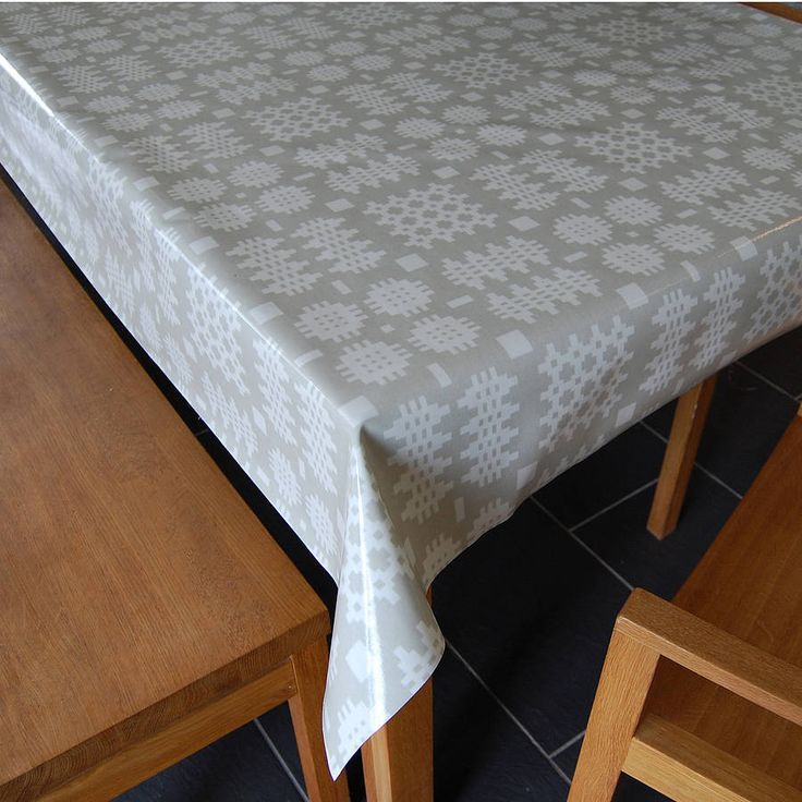 grey welsh blanket print oilcloth tablecloth by adra ...