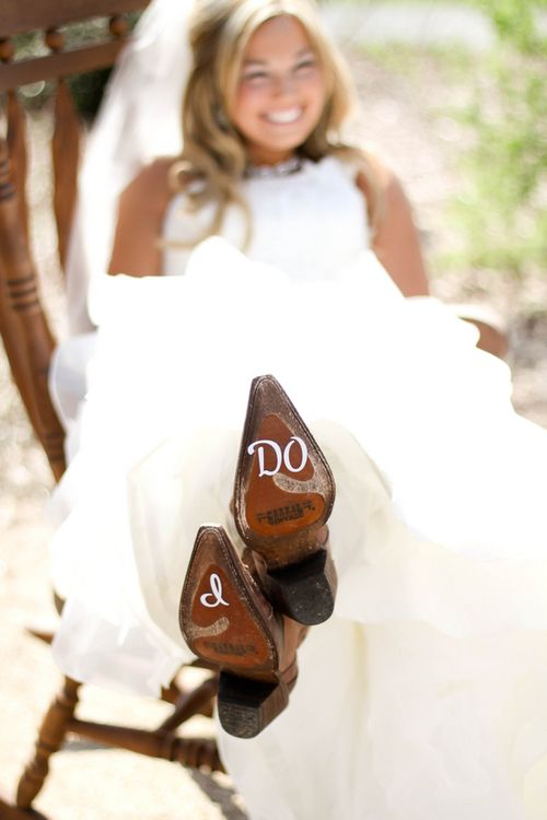 """Cute wedding pic! Definitely want this done if I have the """"I Do!"""" stickers on my shoes! Maybe include the groom with """"Me Too!"""" or vice versa."""
