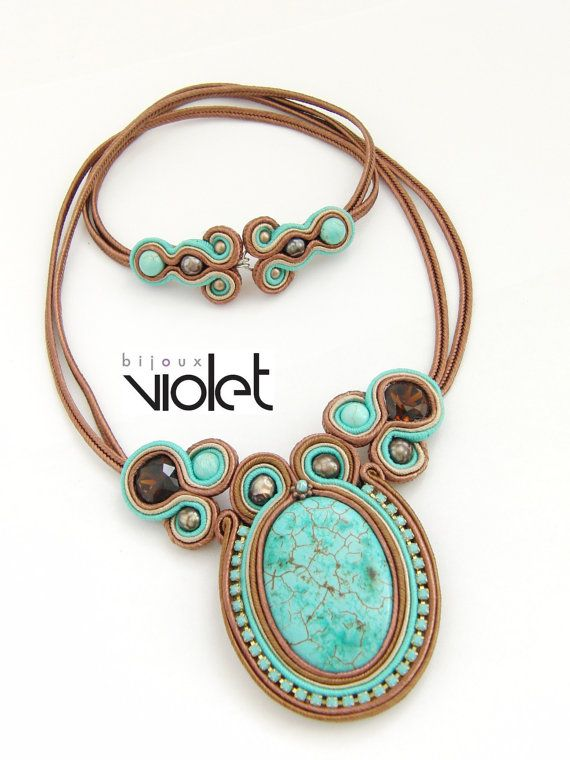 Soutache Pendant Brown/Turquoise by Violetbijoux on Etsy, $89.00