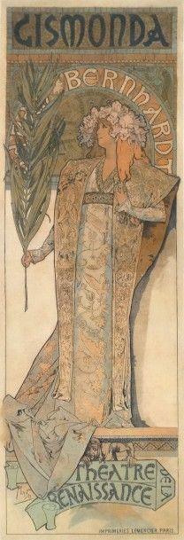 Alfons Mucha (1860-1939), Gismonda - Sarah Bernhardt au Théâtre de la Renaissance, affiche en couleurs réentoilée. 75 x 216,5 cm. Estimation : 7 500/8 500 €. Samedi 24 octobre, Albi. Hôtel des ventes du Tarn SVV.