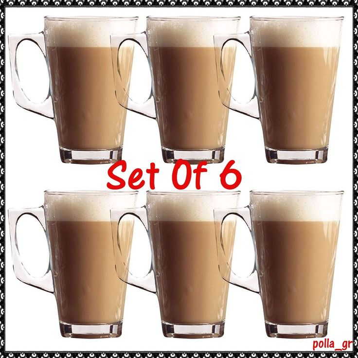 Latte Coffee Glasses Set Of 6 Cappuccino Chocolate Hot Drinks Tea Mugs Kitchen | eBay