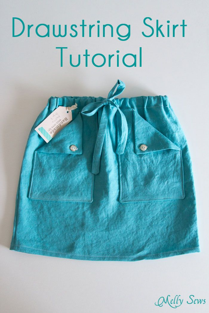 Sew an easy drawstring skirt in any size with this tutorial - Melly Sews Pinning for the cute pockets