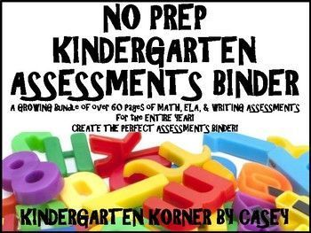 Create your own Kindergarten Assessment Binder with this amazing resource containing over 60 pages of Math,ELA, and Writing assessments to use throughout the entire school year! A MUST HAVE Teacher Tool for baseline beginning of the year assessments, report cards, and end of the year