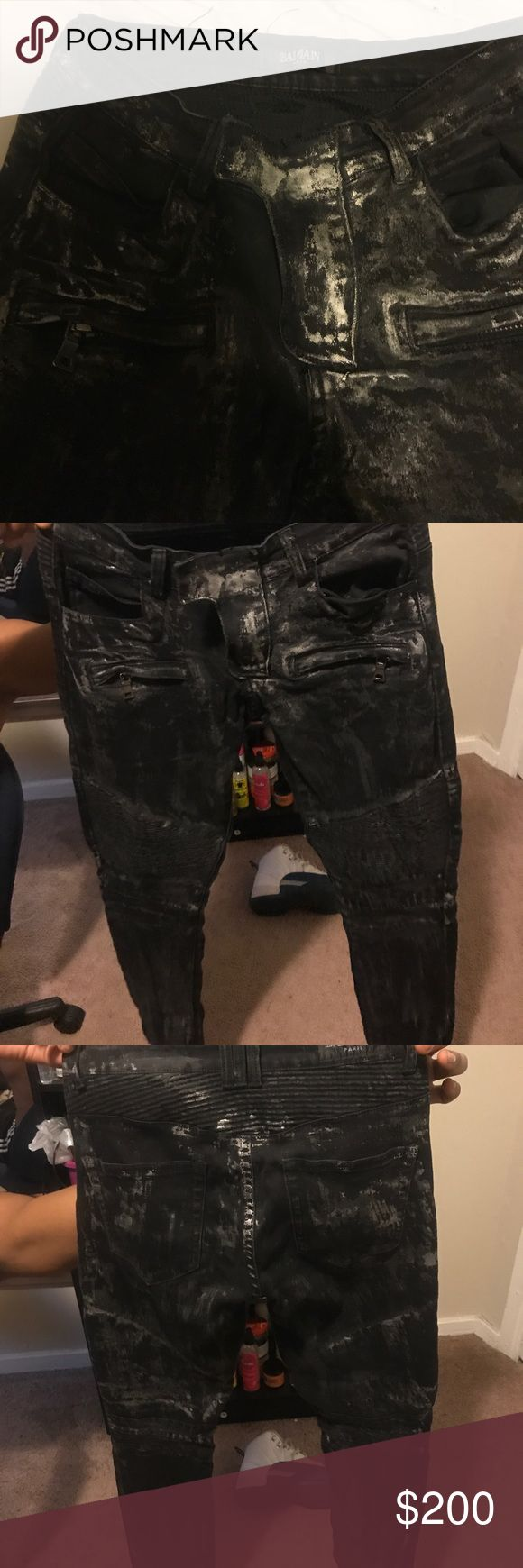 Mens balmain jeans Black , grey , and chrome colored jeans worn a couple times , asking price or best offer Balmain Jeans Skinny