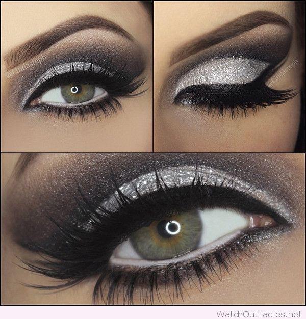 Silver Glitter Black Eye Line Make
