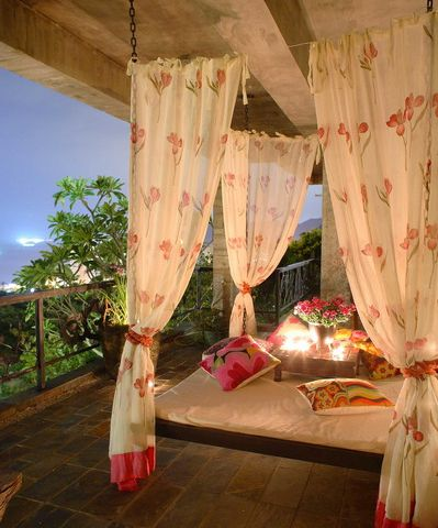 What A Way To Enjoy The View With An Outdoor Bed Surrounded In Romance ~ I like the idea of tie up satin banded sheers for summer windows, change to a heavy linen or velvet clip or tie ons for fall/winter
