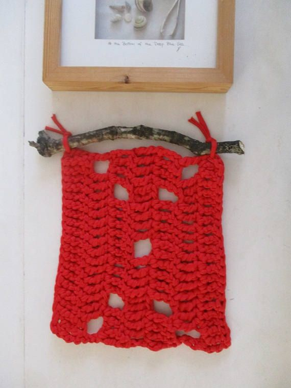 Crochet Wall Art Forest Driftwood Wood Hanging  hygge wall