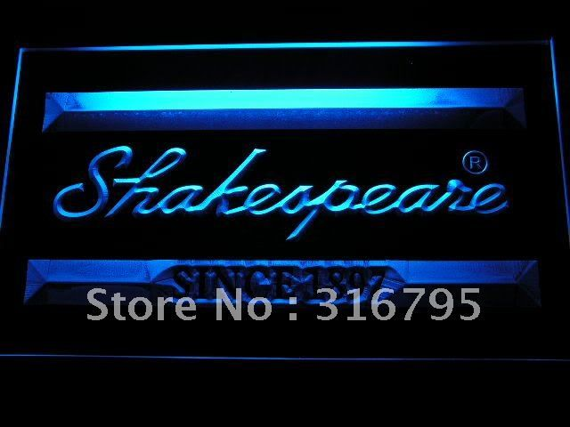 b200 Shakespeare Fishing Logo LED Neon Light Sign Wholesale Dropshipping On/ Off Switch 7 colors DHL