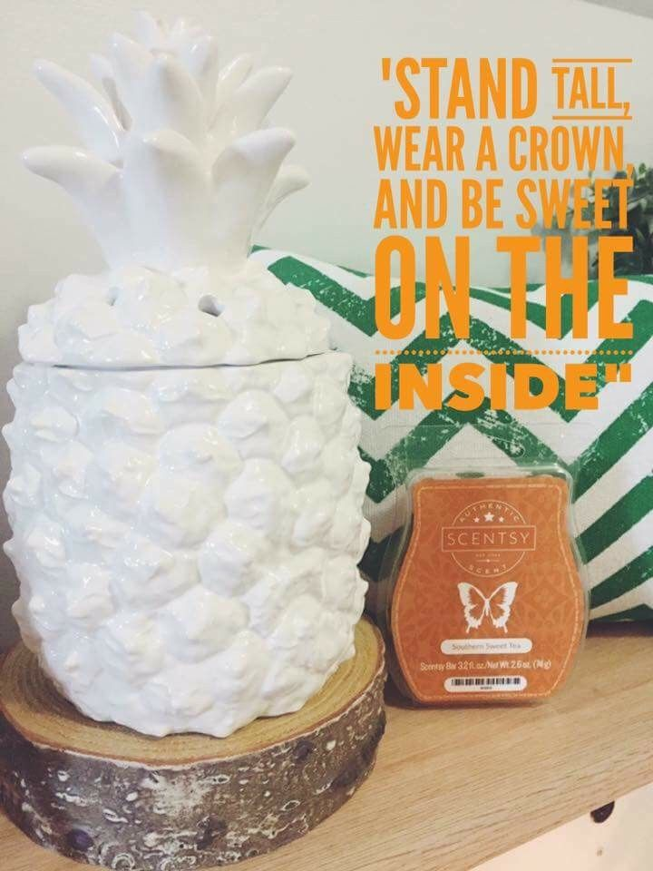 Obsessed with this pineapple warmer, cord concealing stand, and scent! (Southern Sweet Tea) kralph.scentsy.us #pineapples #southernsweettea