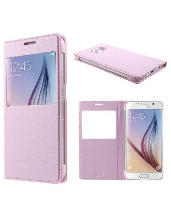 Δερμάτινη Θήκη Βιβλίο Smart Cover για Samsung Galaxy S6 G920 - Ροζ (50003733) by stoucky.gr