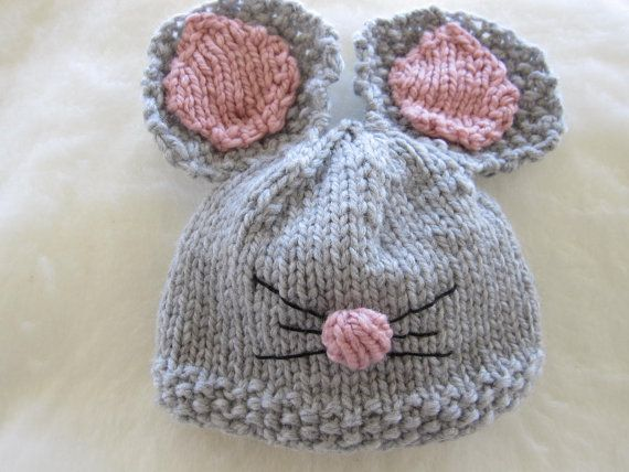 Custom Knit Chunky Little Mouse Hat For Newborn/Baby