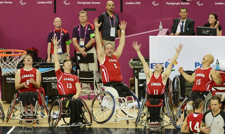 Canadian Wheelchair Basketball Men Celebrate final moments of the Paralympic Gold Medal victory London 2012