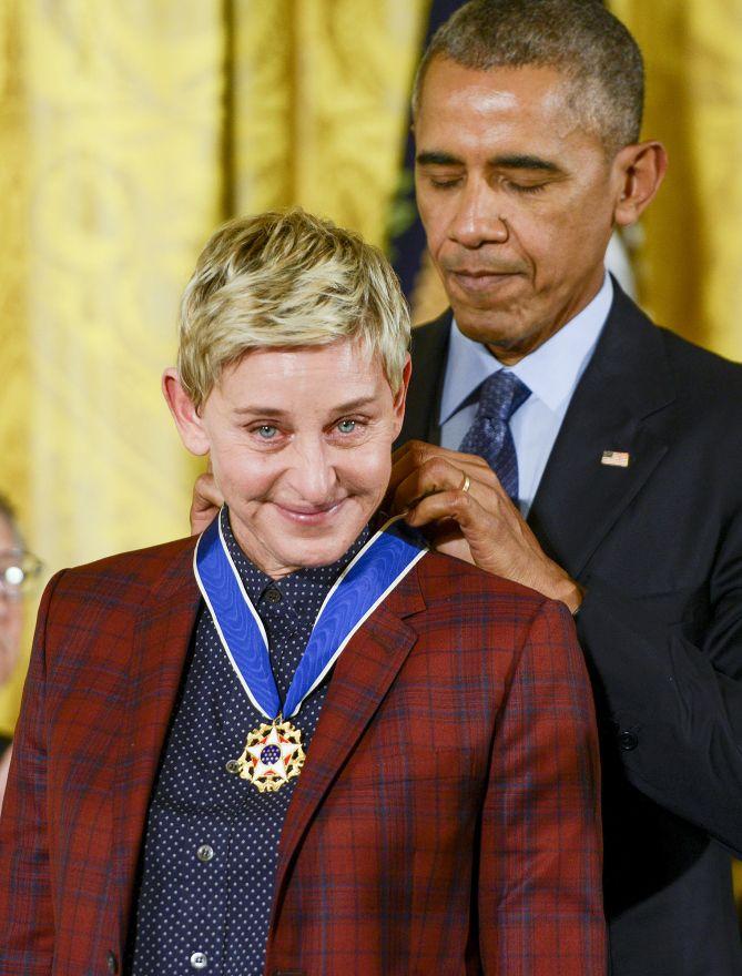 ALL OUR FAVORITE GIRL Ellen Degeneres receiving the Presidential Medal Of Freedom from President Barack Obama