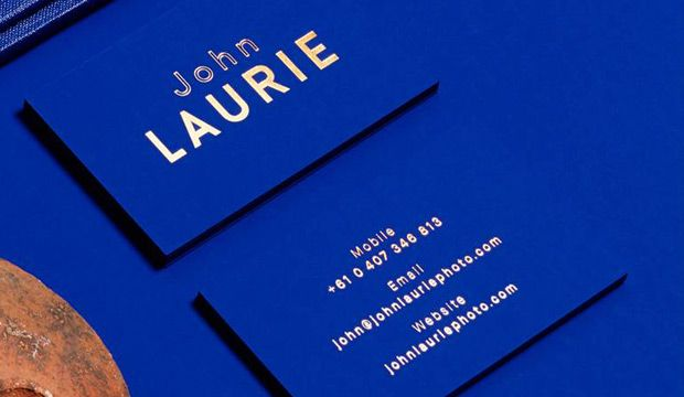 Gold foil business cards John Laurie folio by Duo d uo