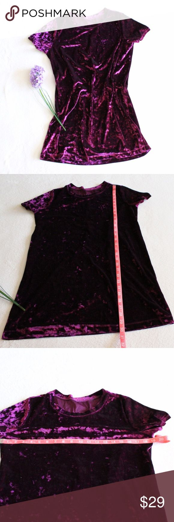NEW Purple Velvet T-Shirt Dress New purple crushed velvet t-shirt dress. This would look so rad with thigh high boots!! Soft and super comfy.  Please see photos for measurements.   Feel free to make an offer via offer button only. NO TRADES Boutique Dresses Mini