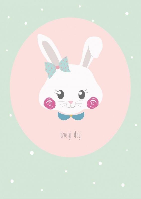 Kaart Konijn Lovely Day Lieve ansichtkaart met konijn en tekst Lovely Day. Gedrukt met milieubewuste inkt. Ontwerp: Petite Louise.