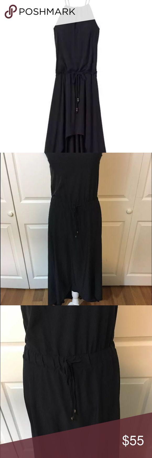 Athleta Novella Hi Low Drawstring waist Dress Hi low / Draw String Waist / Black / Size 4 / Attached Padded Bra Athleta Dresses High Low