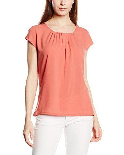 s.Oliver BLACK LABEL Damen T-Shirt im Materialmix, Gr. 46, Orange (rose blush 2072) (orange)