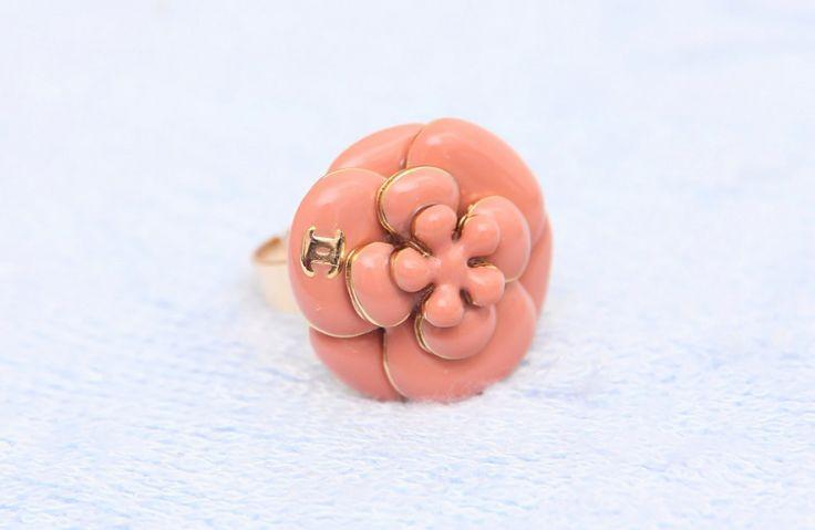 Кольцо CHANEL шанель круглый розовый цветок #262