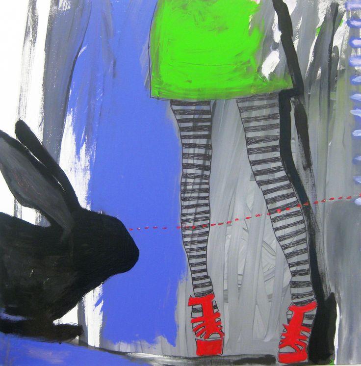 Rabbit Eye Movement, Acryl on canvas, 90x90 cm